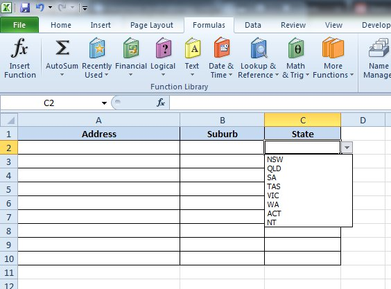 Creating dropdowns in Excel 2010 using Data Validation and Named Ranges