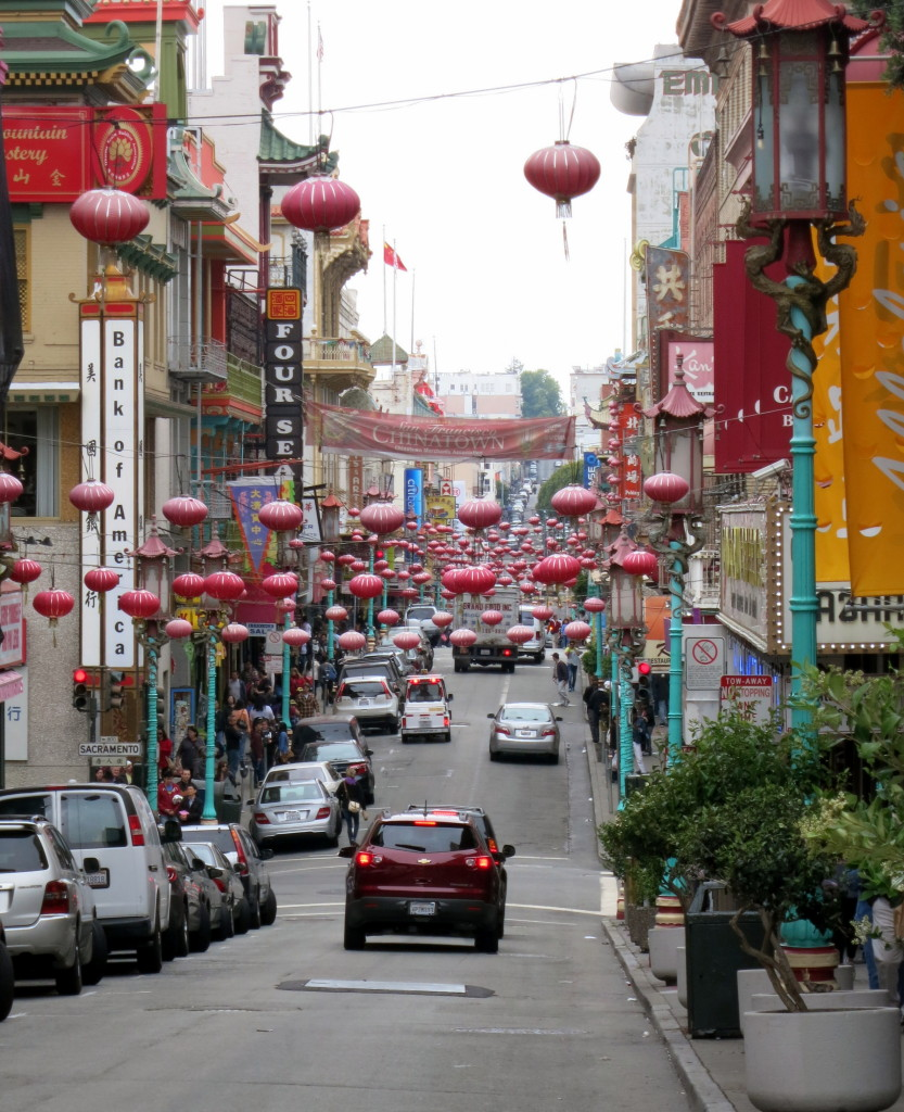 Chinese lanterns hanging over the street