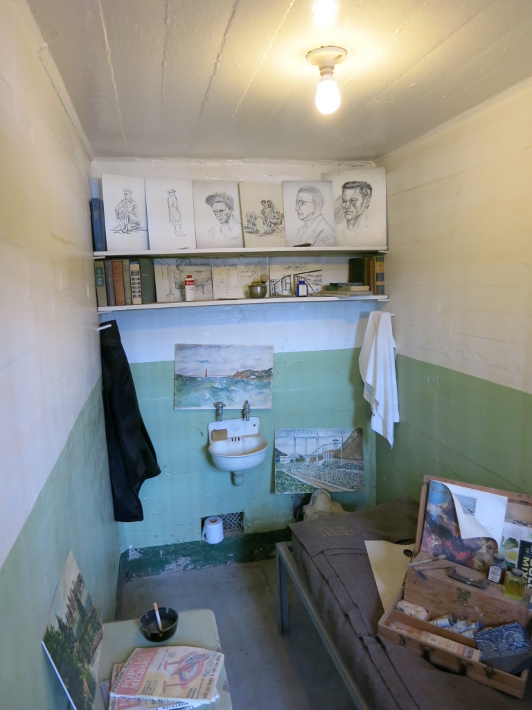 A cell with some prisoner hobbies on display