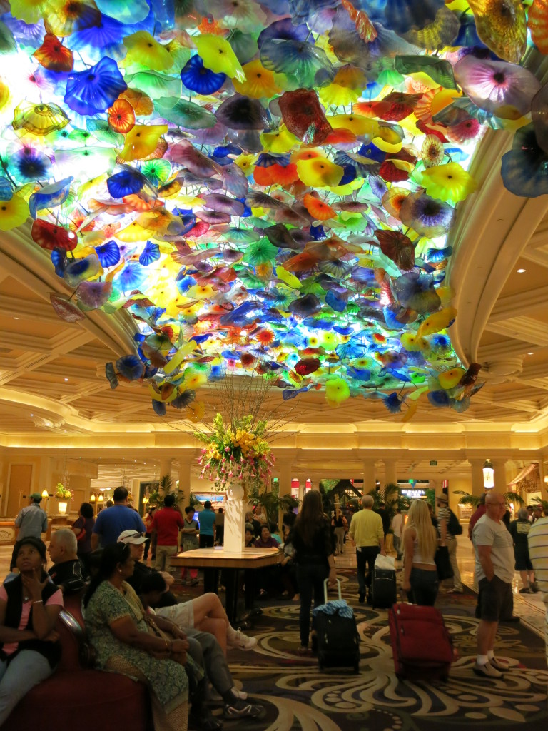 Glass flowers on the ceiling of the Bellagio