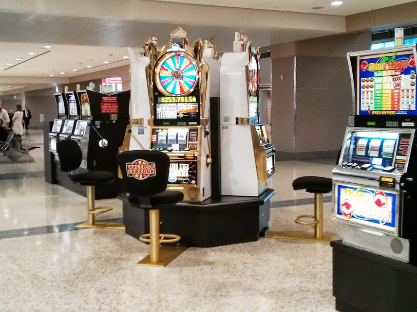 Pokies next to baggage claim at McCarran International Airport