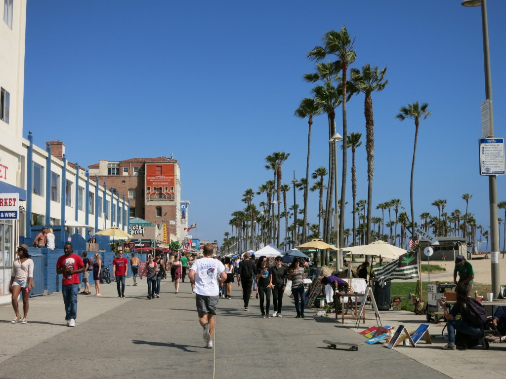 A busy Venice Beach Boardwalk