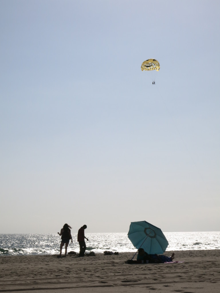 A parasailor above the beach