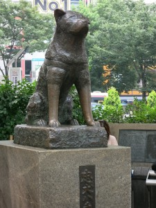 The statue of Hachikō outside Shibuya station