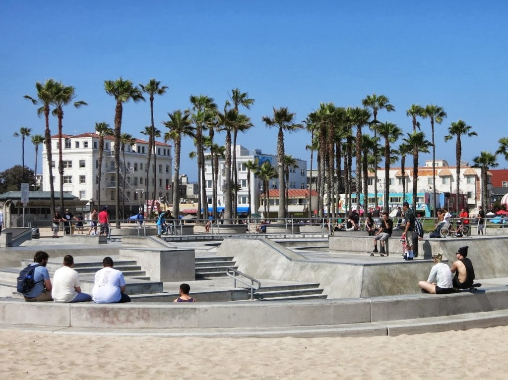 A skateboard park on the beach