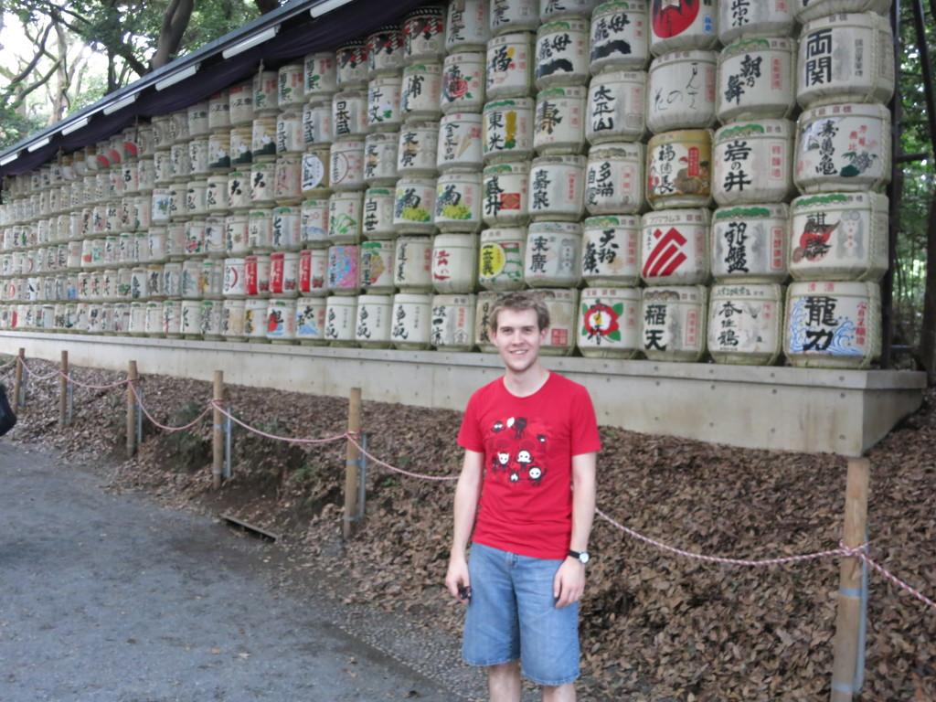 Sake barrels lining the path