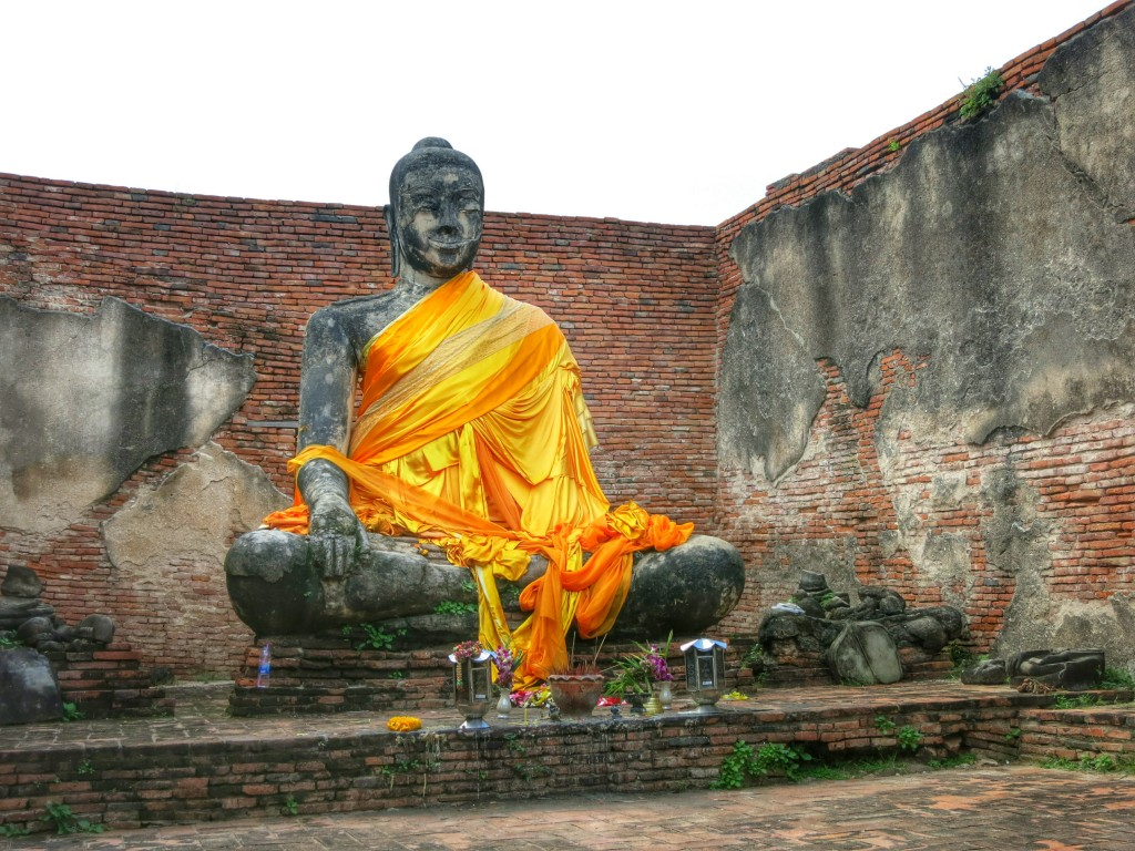A buddha statue hiding in an old ruin