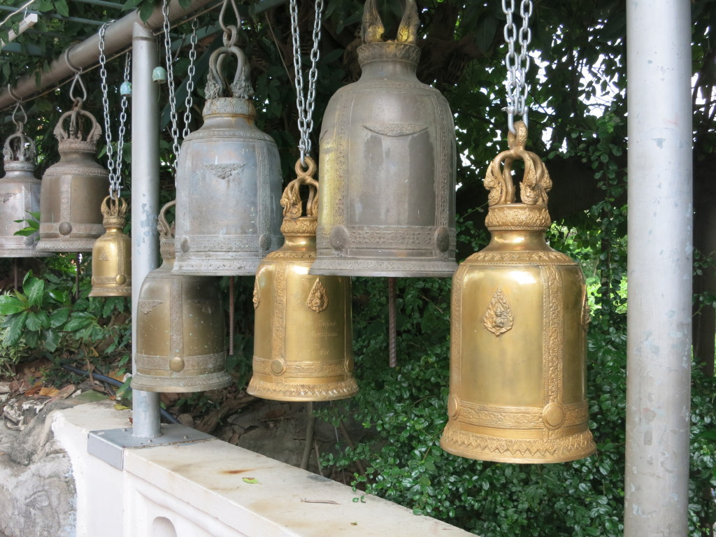 Bells lining the stairs down