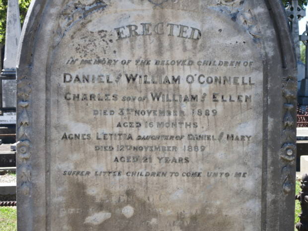 Inscription on the grave of William and Daniel O'Connell's family grave