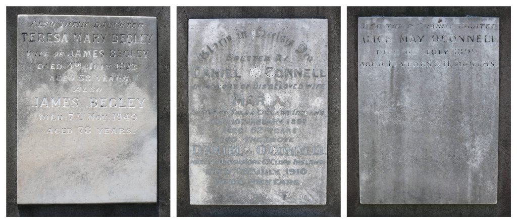 The three panels around the base of the tombstone