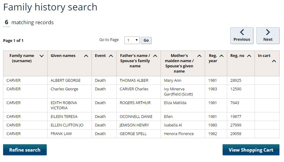 A sample of search results from the Victorian BDM registry